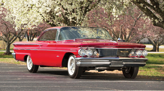 THE 1960 PONTIAC BONNEVILLE SPORT COUPE, CHASSIS NO. 860P21034 IS A HIGHLIGHT OF THE MOTOR CITY SALE THIS SUMMER. PHOTOGRAPH  BY TRAVIS MASSEY AND OWEN FITTER © 2015 COURTESY OF RM SOTHEBY'S.